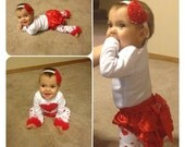 Toddler VALENTINE Day OUTFIT, Red Heart Onesie, Matching Red Heart Headband, Red Ruffle Diaper Cover, Heart Leg Warmers, Girls Heart Outfit