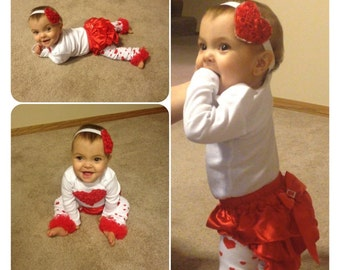 Toddler VALENTINE Day OUTFIT, Red Heart Onesie, Matching Red Heart Headband, Red Ruffle Diaper Cover, Girls Red Heart Outfit, Baby Heart Set