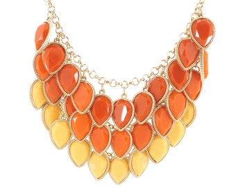 Gorgeous Gold-tone Three Layers Orange and Yellow Tear Drop Faceted Stone Statement Necklace,A13