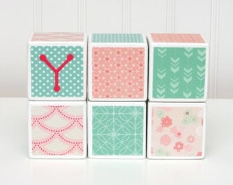 Baby Blocks Personalized - SET OF 6 - Girl - Pink Mint White Flowers Hearts