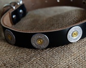 Bullet Dog collar 12 gauge shotgun Genuine Leather Handmade Personalized leather dog strap duck hunting lab