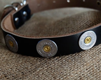 SALE Bullet Dog collar 12 gauge shotgun Genuine Leather Handmade Personalized leather dog strap duck hunting lab