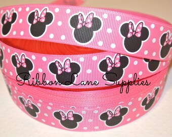 "7/8"" Ribbon by the yard-Disney Minnie Mouse pink White Polka dot  Ribbon -Hair bows WHolesale by Ribbon Lane Supplies"