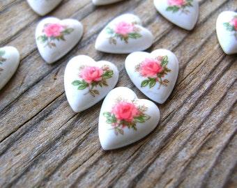 Vintage Pink Heart Cabochons - Porcelain Rose Cabochons - Pink Roses - Vintage Cabochons - Japanese Cabochons - Valentines Day