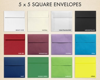 5 x 5 Square Flap Envelopes w/Peel & Press - LUX Collection (50 Qty.)