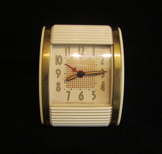 vintage westclox art deco travel alarm clock with bakelite. Black Bedroom Furniture Sets. Home Design Ideas