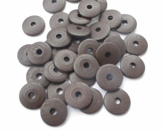 Wooden disc beads x 25, spacer beads, wheel beads, 20mm