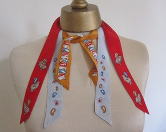 1940- 50s  TRI_TIE a Top Hit fashion,  rockabilly tie,  genuine 50s scarf,  colorful ladies tie