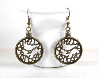 Clock Earrings, Art Noveau gift, Brass earrings, Gift for her, For her