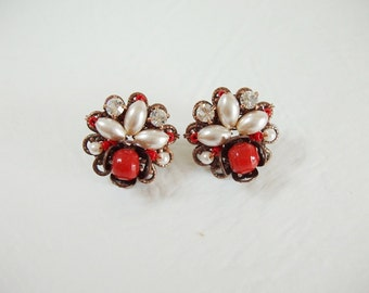 Red Stud Earrings. Vintage Style Cluster Earrings. Crystal Earrings. Pearl Jewelry. Birthday Gifts Girlfriend Fiance Gift Ideas