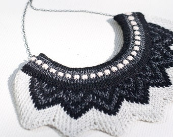 Knitted Chevron Necklace - Dove White, Black and Charcoal Grey