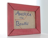 Patriotic Home Decor - Framed America the Beautiful Hand Stitched Embroidery
