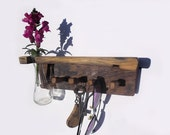 wooden key holder, with a shelf and vase, reclaimed wood wall  rack