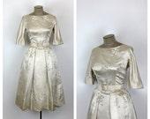 50s Adele Simpson Ecru Satin Wedding Dress • 1950s Formal Ivory Tea Length Party Dress • Fit and Flare • Full Pleated Skirt • Medium