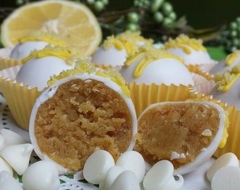Lemon White Chocolate cake ball Trufles 12 hand Made Decadent White Chocolate truffle balls, Wedding Favor