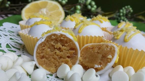 Lemon White Chocolate cake ball Trufles 12 hand Made Decadent White ...