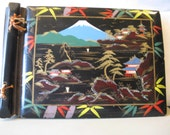 photo album or scrapbook Mount Fuji black lacquer inlaid mother of pearl 1950s