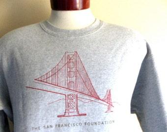 vintage 90's The San Francisco Foundation heather grey fleece red golden gate logo print graphic sweatshirt unisex crew neck pullover jumper