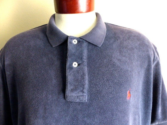 Vintage 80 39 s 90 39 s polo by ralph lauren solid navy blue for Terry cloth polo shirt