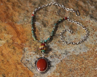 Red Jasper and Sterling Silver Pendant