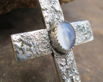 MOONSTONE and Sterling Silver cross.  #4
