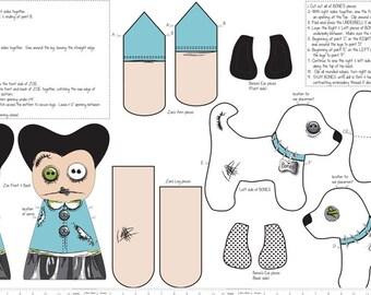 Zombie Apocolypse Zoe Doll and Zombie Dog Blue Fabric Panel - Riley Blake