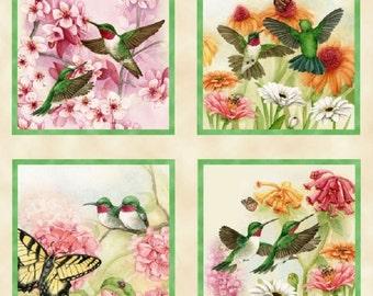 Hummingbirds Cotton Quilting Fabric Panel - 60cm x 110cm - Elizabeth's Studio