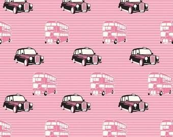 Fat Quarter British Invasion London Bus Taxis Quilting Fabric Riley Blake C3841