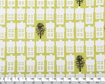Fat Quarter Village and Trees Green Cotton Quilting Fabric Copenhagen Print