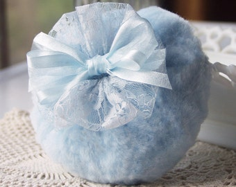 Elegant Ruffled Lace Powder Puff (Baby Blue shown - 3 colors available)
