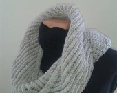Beige Hand Knit Chunky,Infinity Scarf Cowl, Cowl or scarf