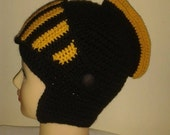 Knight crochet hat,Men's Hat Crocheted Knight Helmet ,Black and Gold Knight Beanie , Slouch Men Hat Winter Snowboard Ski Mask Bicycle
