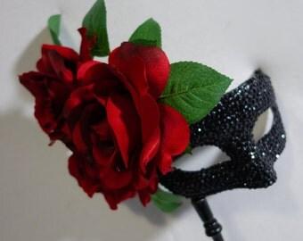 Flamenco Fiesta! (Handled) Ruby Red Roses & Black Crystals Masquerade Mask