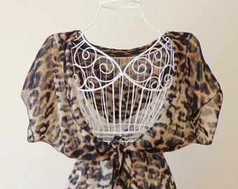 Leopard Design Chiffon Caftan Beach ,Cover Up, Summer Dress, Boho Dress, Summer Tunic, Women's Fashion, Summer Trend, Swimsuit, Cover Up.