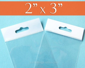 "300,  2x3 Inch HANG TOP Clear Self Adhesive Cello Bags  for Jewelry Display or Beads (2"" x 3"")"