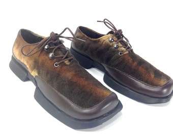 90s Platform Creepers 6 - Animal Print Platform Shoes 6 - Leather Raver Creepers 6