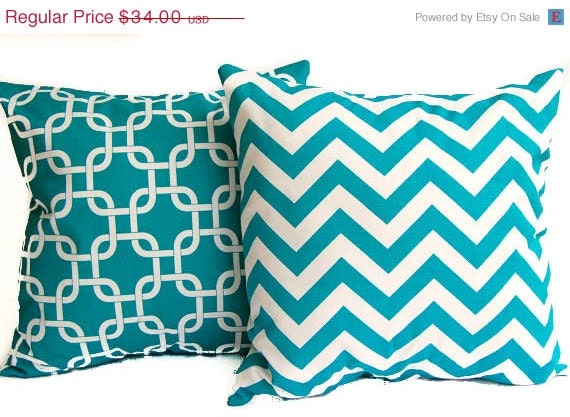 Turquoise Decorative Pillow Set : SPRING SALE Turquoise throw pillow covers set by ThePillowPeople