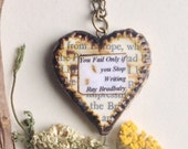 Writers Word Jewelry - Heart Necklace Pendant - Inspirational Quote