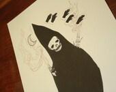 Hooded Spirit Ghostly Hands Illustration Print
