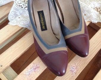 Grey Heels / Gray and Maroon Vintage Detailed Pumps Size 61/2 Vintage Grey Heels