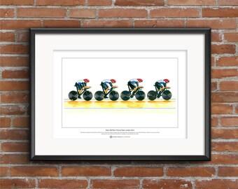 Team GB Men's Cycling Pursuit Team 2012, Limited Edition Fine Art Print A3 size