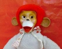 Vintage 1950's Toy Zippy Rubber Face Monkey by Columbia Toys Plush Plushie Stuffed Animal Red Retro Collectible Plush Valentine Banana