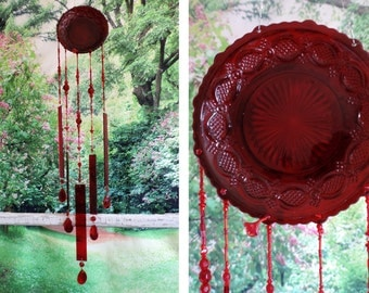 Wind Chime Ruby Red Depression Glass Crystal Beads  Stained Glass Leaded Crystal