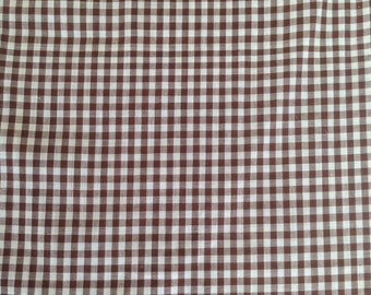 Vintage Cotton Fabric brown gingham