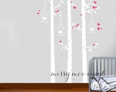 Birch Tree Decal with Butterflies & Bird Cages and Birdies, Birch trees, Birch forest, Nursery Birch Trees Wall Vinyl