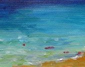 "Holiday Greeting Card. Original abstract seascape acrylic miniture painting ""Found Treasures"", 2.5"" x 3.5"" on canvas paper, Free Shipping."