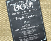Vintage Chalkboard Sip and See Invitation Baby Boy Shower Baby Girl Shower Diaper and Wipes Baby Sprinkle Meet the Baby ANY COLOR Any event
