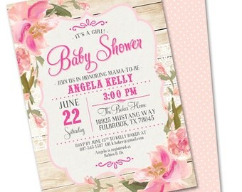 Rustic Baby Shower Invitation Baby Girl Shabby Chic Lace Pink Blush Peach Flowers Sip and See Baby Sprinkle, Any Event