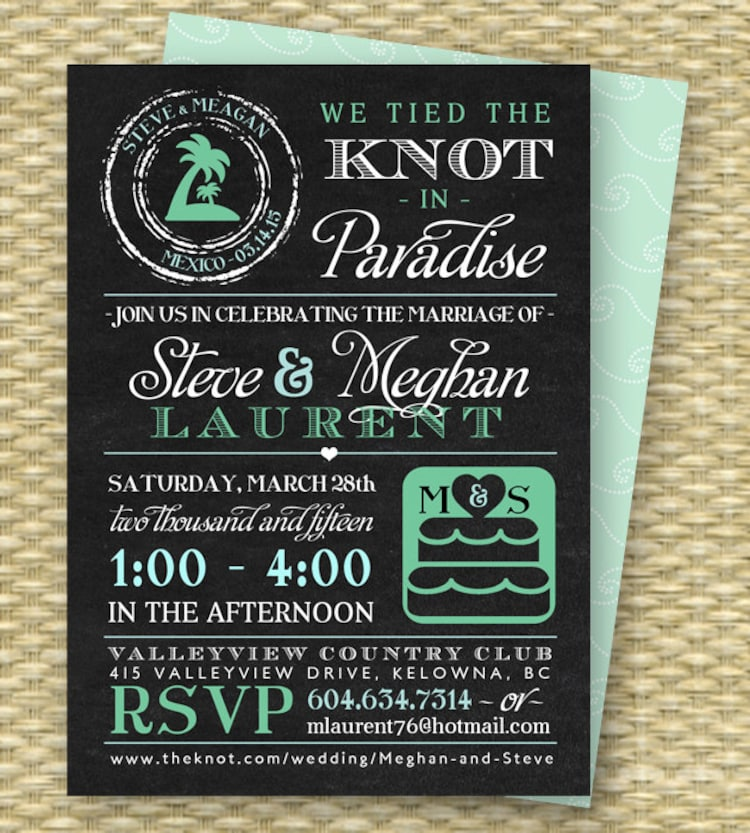 Invitation For Reception After The Wedding: Chalkboard Destination Wedding Invitation By