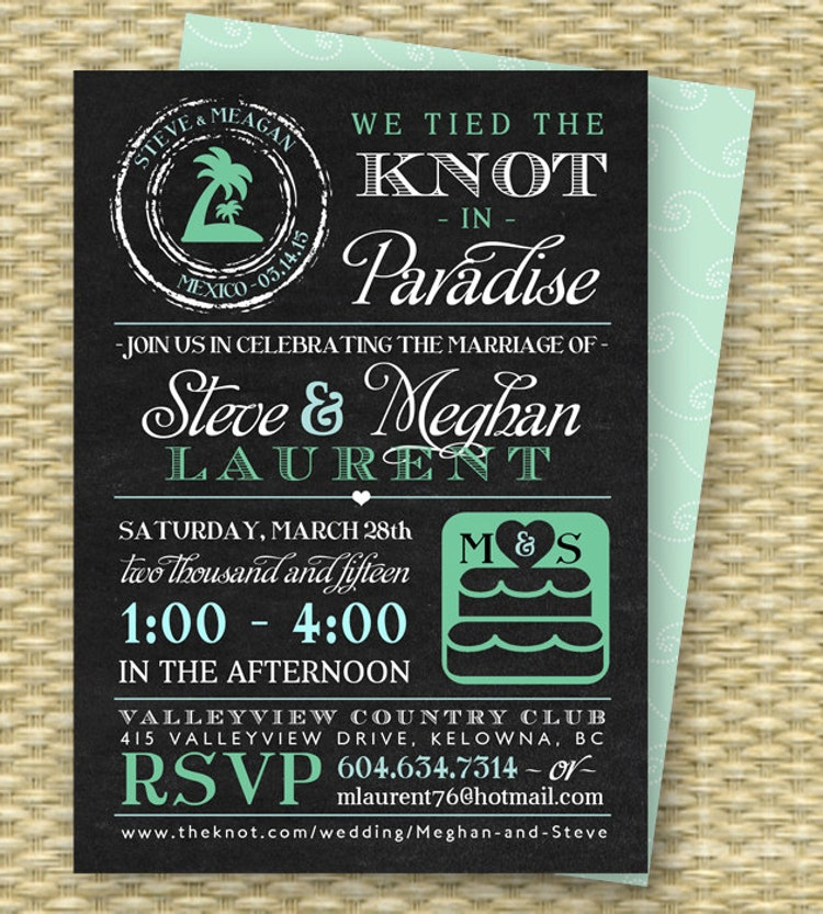 Reception After Destination Wedding Invitation